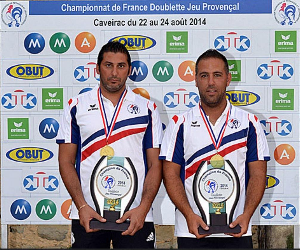 Les champions de France doublettes Jeu Provençal 2014 > Mohamed BENMOSTEFA et Fabrice ROUVIN