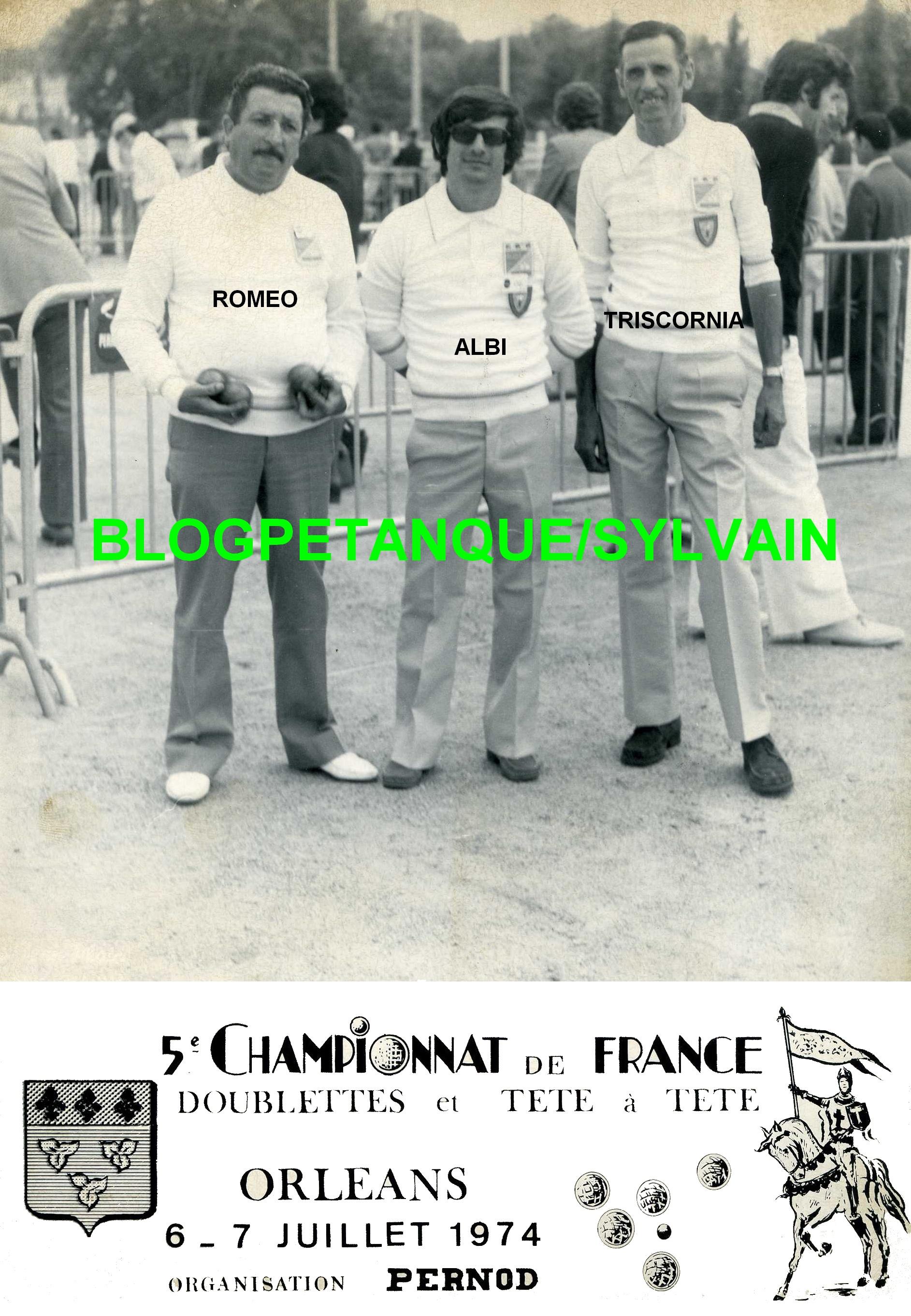 Les champions doublettes du 06 accompagné du vice champion individuel 1973
