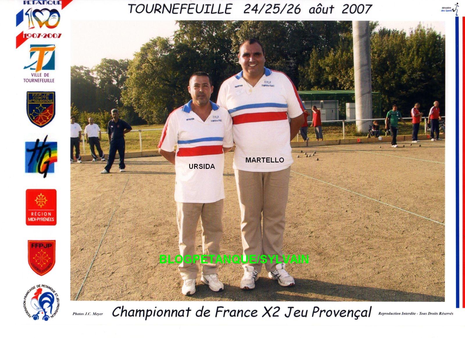 Les champions de France doublettes 2006 qualifiés d'office
