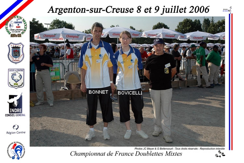 2ème France mixte à ARGENTON/CREUSE en 2006 perdu au barrage des poules contre DUMEZ - PRUD'HOMME du 19