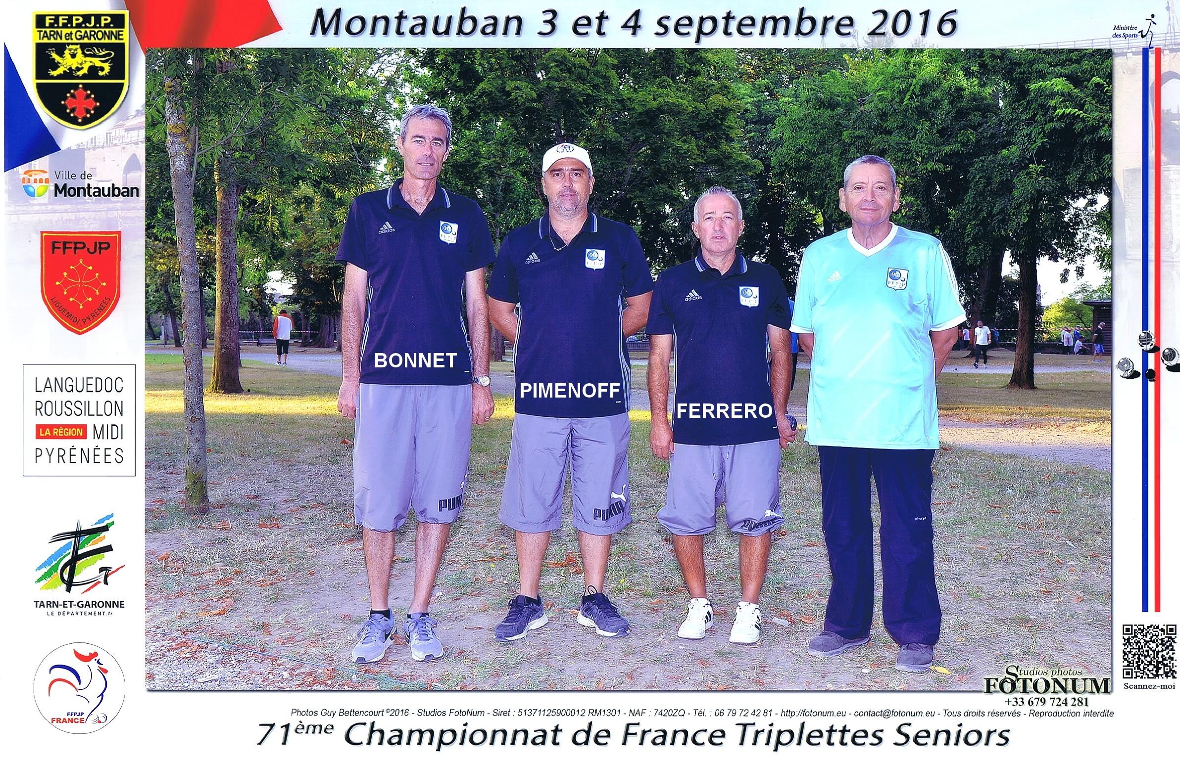 11ème France triplettes à MONTAUBAN perdu en 1/32ème contre COPPA-LABRUE-RANQUINE du 64