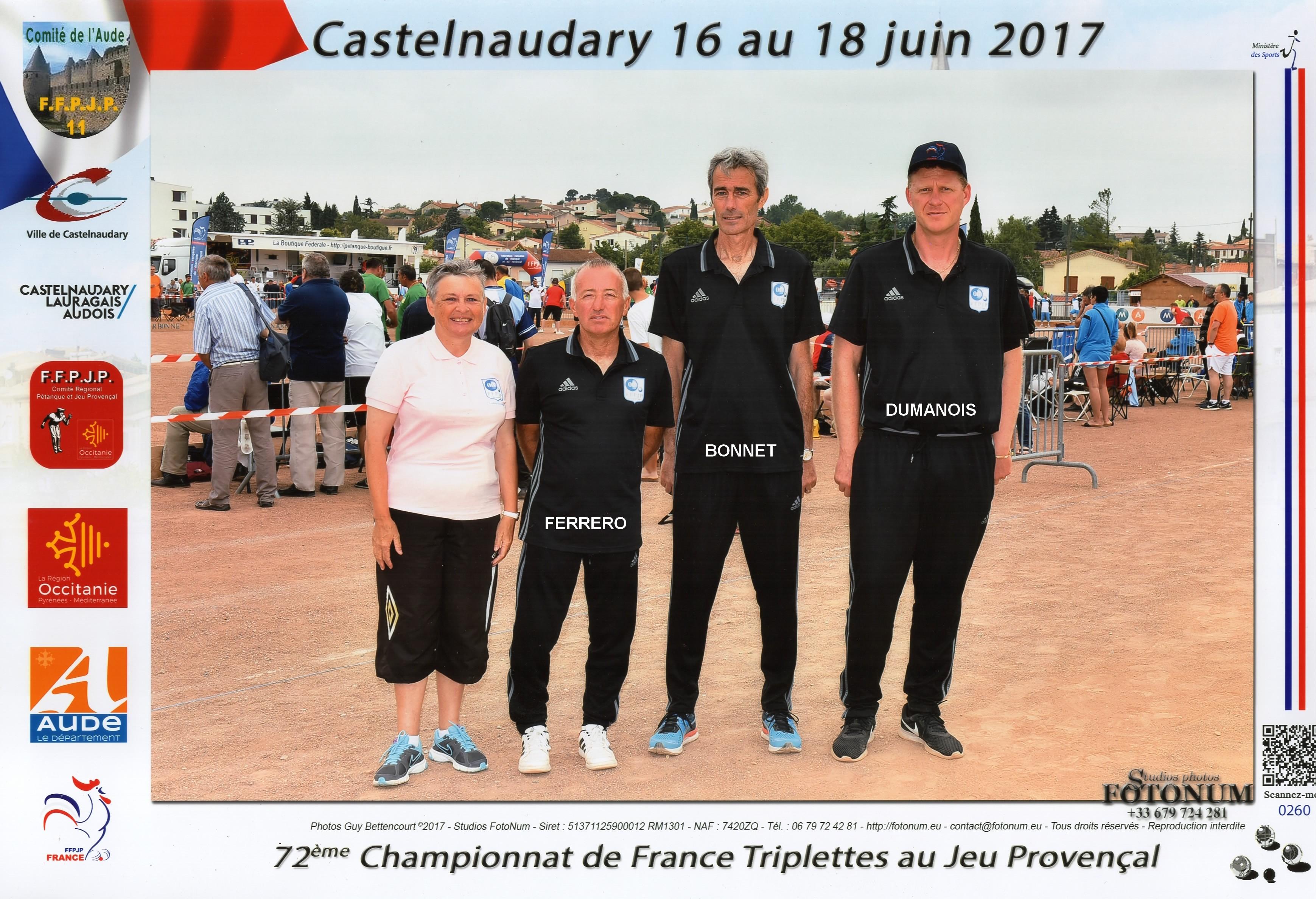3ème France triplettes au Jeu Provençal à CASTELNAUDARY perdu en 1/32ème contre STIEVENART-SERRANO-DOMENGE du 13