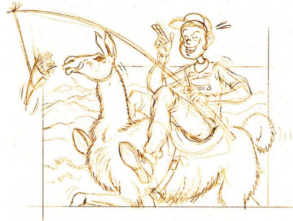 Biloute au DAKAR avec son lama ch'ti