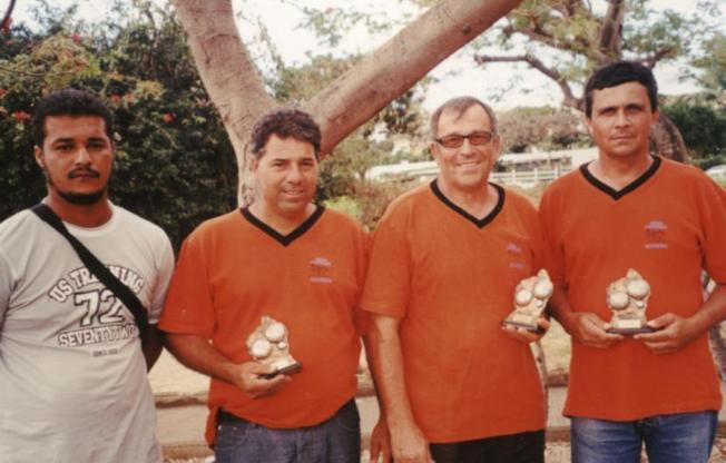 Quart de finaliste de la coupe Réunion: Robert, Michel et Jo et Eric le délégué