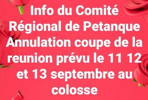 ANNULATION COUPE DE LA REUNION