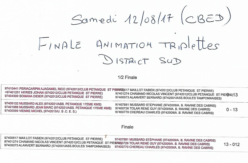 FINALE DISTRICT SUD TRIPLETTES