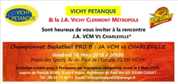 INVITATION AU BASKET   RESERVEE AUX LICENCIES DE VICHY PETANQUE