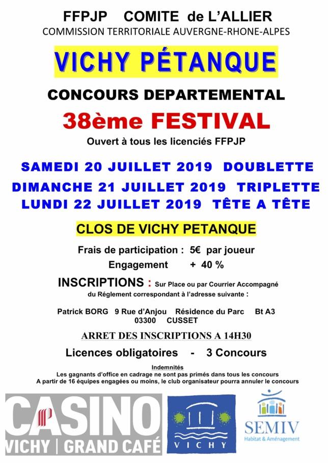 FESTIVAL DE VICHY PETANQUE 20,21 ET 22 JUILLET 2019
