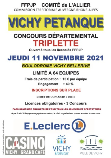 CONCOURS EN TRIPLETTE LE 11 NOVEMBRE 2021 AU BOULODROME