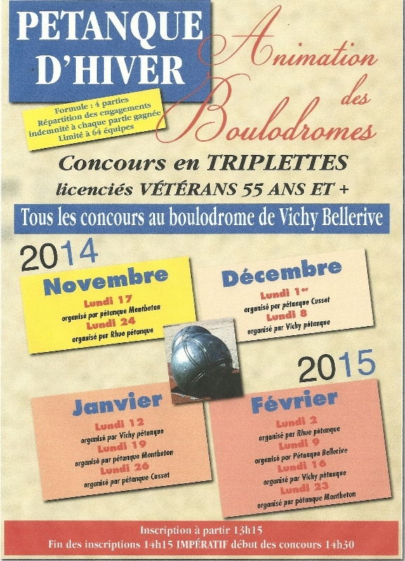 animation boulodrome vichy bellerive  2014/2015